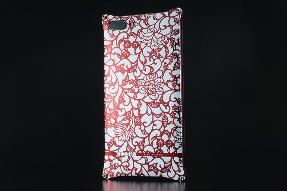 GILD design ギルドデザイン スマートフォンケース OKOSHI-KATAGAMI [オコシカタガミ] 【アラベスク】 for iPhone7Plus カラー:レッド [商品コード:GOK-280AR]