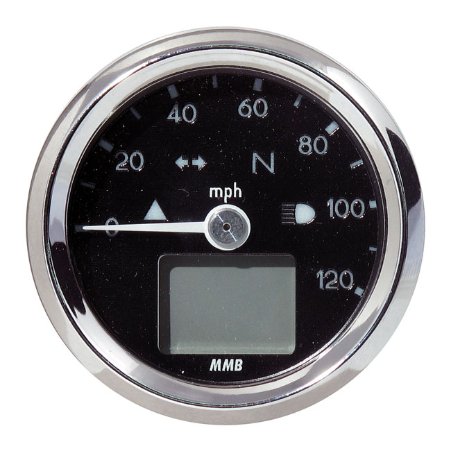 MMB エムエムビー スピードメーター ELECTRONIC 48MM SPEEDO BASIC 120 MP/H COLOR:BLACK FACE PLATE