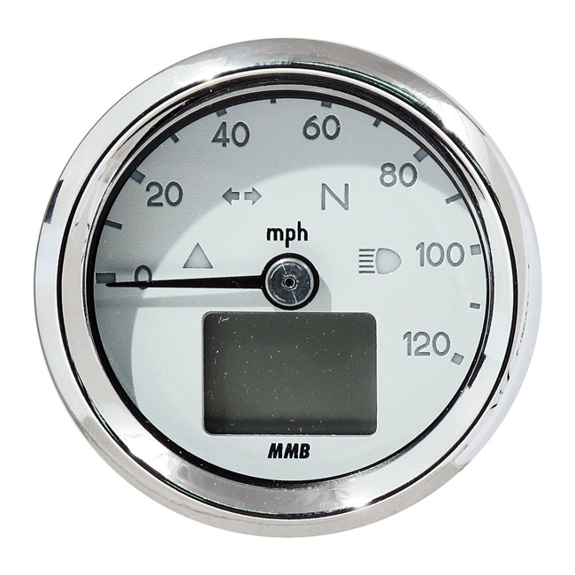 MMB エムエムビー スピードメーター ELECTRONIC 48MM SPEEDO BASIC 120 MP/H COLOR:WHITE FACE PLATE