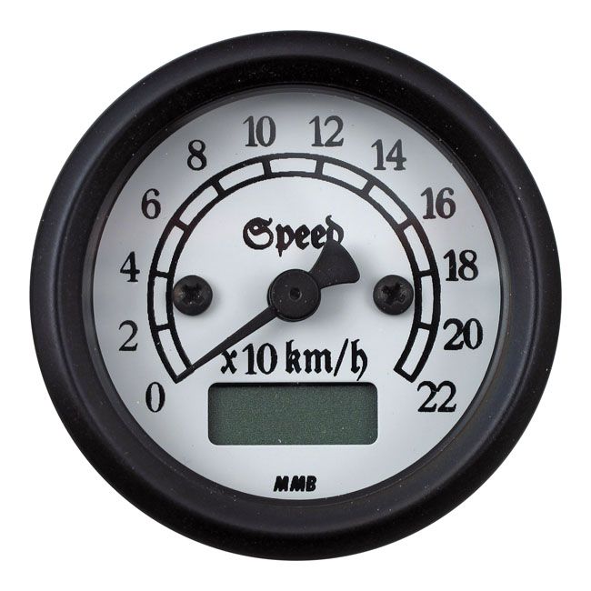MMB エムエムビー スピードメーター ULTRA MINI ELECTRONIC SPEEDO CLASSIC COLOR:WHITE LIGHTED