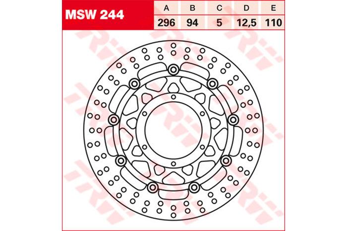 TRW ティーアールダブル ディスクローター BRAKE-DISCS [MSW244] CB900F ホーネット [SC48] 02-06 CBR600F [PC35] 01-07 VTX 1800 C [SC46] 01-08