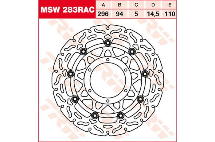 TRW ティーアールダブル BRAKE-DISCS RACING [MSW283RAC2] CB 600 F Hornet [PC41] CB 600 FA Hornet [PC41] CBR 600 F [PC41] CBR 600 FA [PC41]