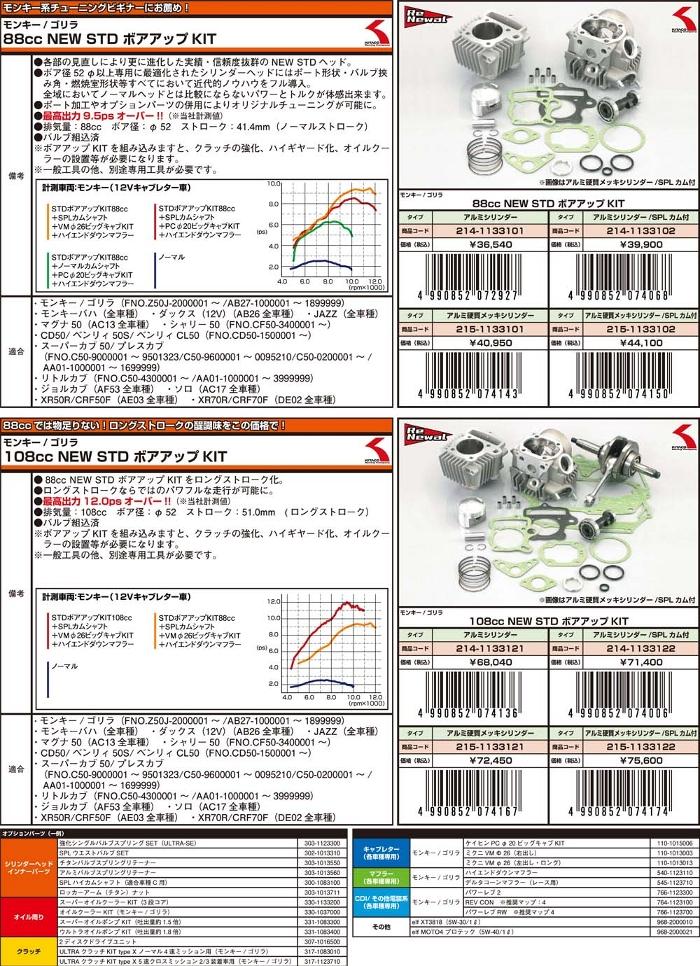 キタコ KITACO ボアアップキット・シリンダー NEW スタンダード ボアアップキット(108cc) SPLカムシャフト:無し アルミ硬質メッキシリンダー