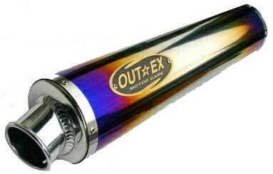 OUTEX アウテックス スリップオンマフラー ビッグバイク/スポーツバイク用 チタンサイレンサー エンブレムサイズ:小