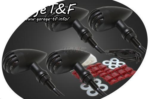 ガレージT&F ウインカー バードゲージウィンカータイプ2・ダークレンズ仕様キット ゲージ素材:アルミ製ブラック仕上げ ボディー素材:アルミ製ブラック仕上げ 250TR