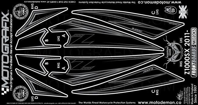 【ポイント5倍開催中!!】MOTOGRAFIX モトグラフィックス ステッカー・デカール ボディーパッド カラー:ブラック/シルバー Ninja1000[Z1000SX](11-)