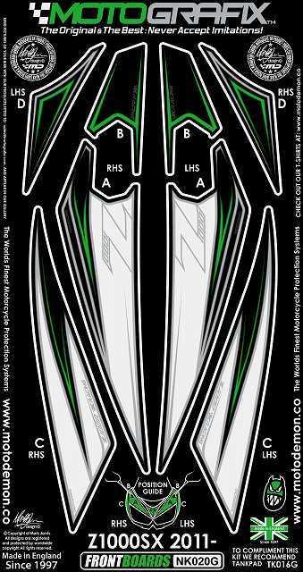 【ポイント5倍開催中!!】MOTOGRAFIX モトグラフィックス ステッカー・デカール ボディーパッド カラー:ホワイト/ブラック/グリーン Ninja1000[Z1000SX](11-)