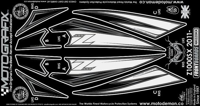 【ポイント5倍開催中!!】MOTOGRAFIX モトグラフィックス ステッカー・デカール ボディーパッド カラー:ホワイト/ブラック Ninja1000[Z1000SX](11-)