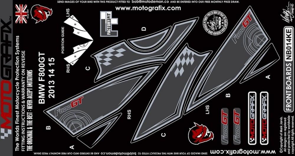 【ポイント5倍開催中!!】MOTOGRAFIX モトグラフィックス ステッカー・デカール ボディーパッド カラー:ブラック/グレー F800GT