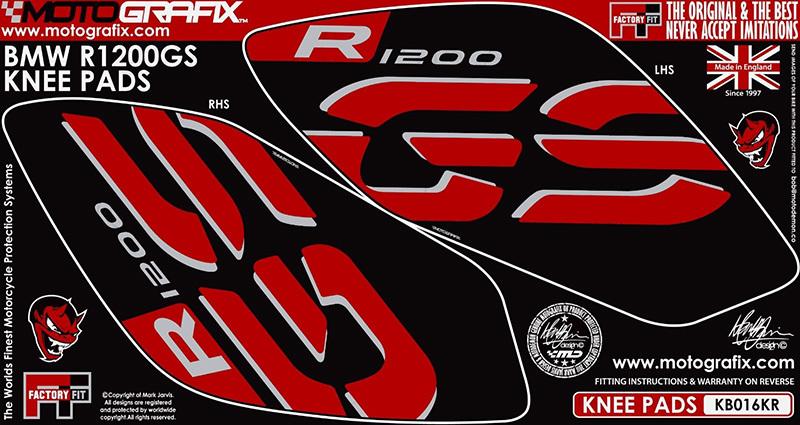 【ポイント5倍開催中!!】MOTOGRAFIX モトグラフィックス ステッカー・デカール ボディーパッド カラー:ブラック/レッド R1200GS