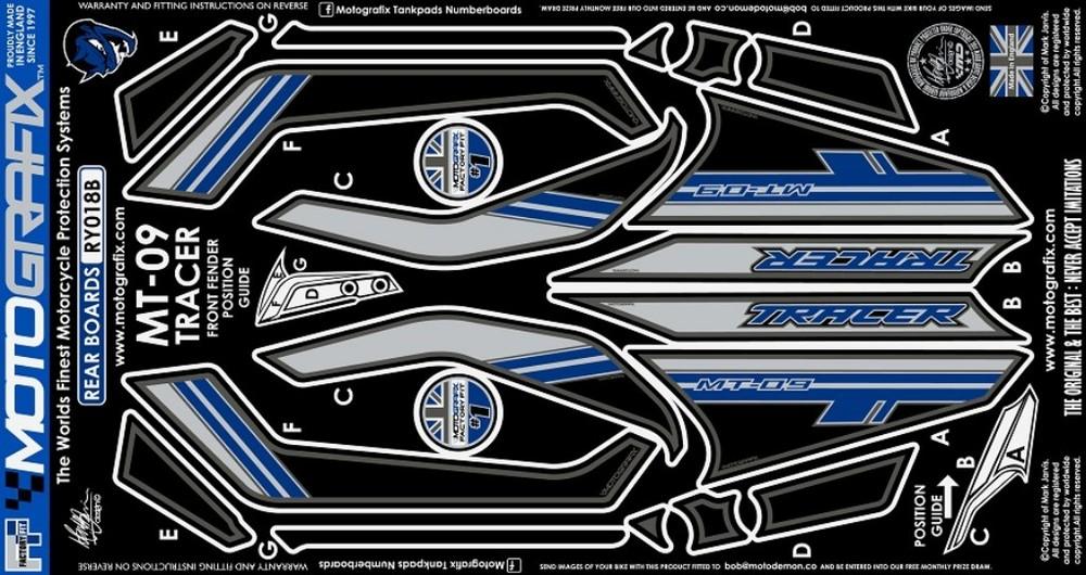 MOTOGRAFIX モトグラフィックス ステッカー・デカール ボディーパッド カラー:ブルー MT-09 トレーサー