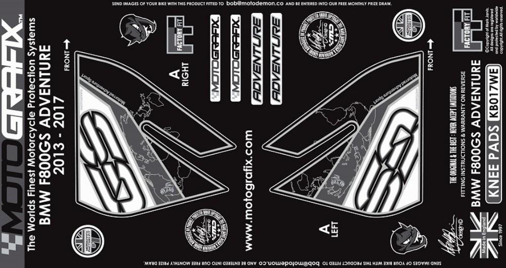 【ポイント5倍開催中!!】MOTOGRAFIX モトグラフィックス ステッカー・デカール ボディーパッド カラー:ホワイト/グレー F800GS Adventure