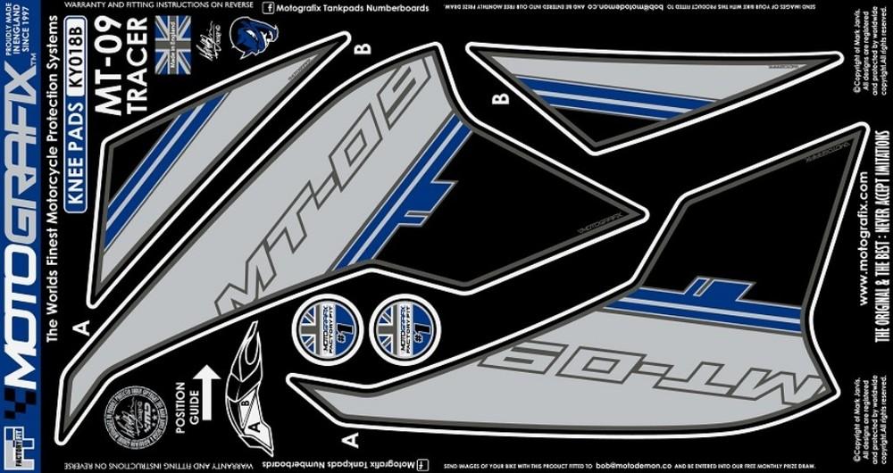 【ポイント5倍開催中!!】MOTOGRAFIX モトグラフィックス ステッカー・デカール ボディーパッド カラー:ブルー MT-09 トレーサー