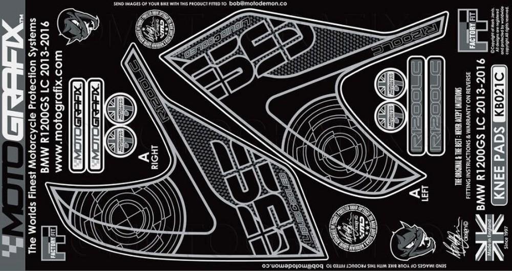 MOTOGRAFIX モトグラフィックス ステッカー・デカール ボディーパッド カラー:カーボン R1200GS