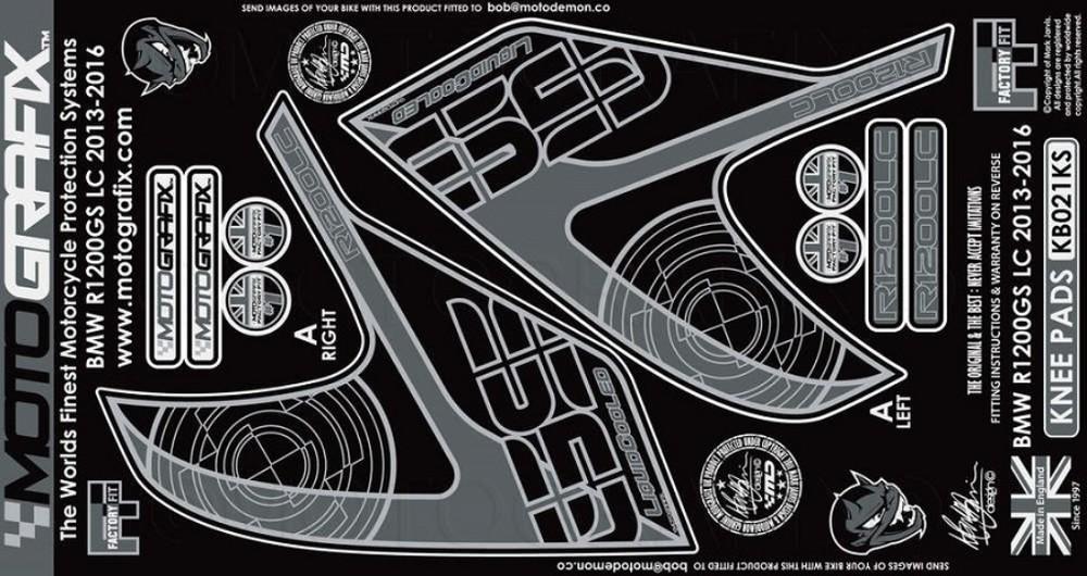 【ポイント5倍開催中!!】MOTOGRAFIX モトグラフィックス ステッカー・デカール ボディーパッド カラー:ブラック/シルバー R1200GS