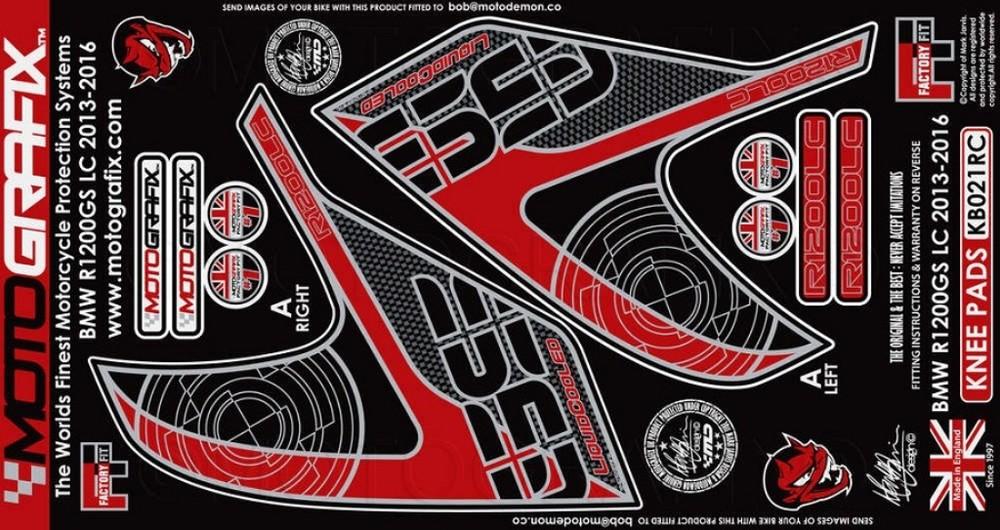 【ポイント5倍開催中!!】MOTOGRAFIX モトグラフィックス ステッカー・デカール ボディーパッド カラー:レッド/カーボン R1200GS