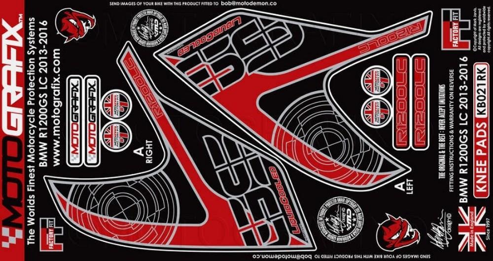 MOTOGRAFIX モトグラフィックス ステッカー・デカール ボディーパッド カラー:レッド/ブラック R1200GS