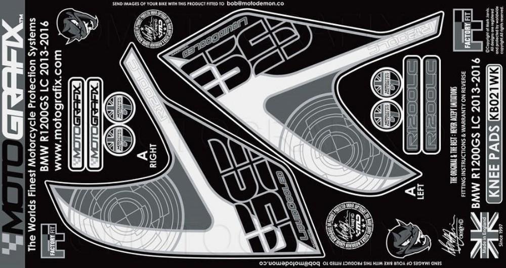 MOTOGRAFIX モトグラフィックス ステッカー・デカール ボディーパッド カラー:ホワイト/ブラック R1200GS