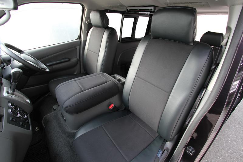 オグショー OGUshow トランポ用品 NV350キャラバン プレミアムGX ESシートカバー タイプ:フロントのみ/ブラックレザー×ブラックモケット