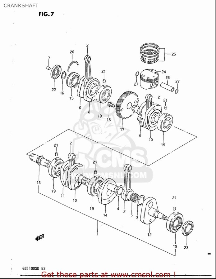 CMS シーエムエス ピストン・ピストン周辺パーツ PISTON SET(OS:0.5) GS1100S 1983 (D) USA (E03)
