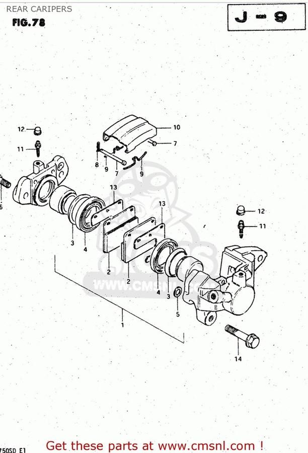 CMS シーエムエス キャリパー (6910045030) CALIPER ASSEMBLY,REAR GS750A 1983 (D) USA (E03)