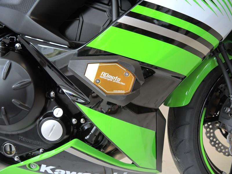 RDmoto アールディーモト ガード・スライダー クラッシュスライダー【Crash sliders】 Colour:gold aluminium anodized Colour:white polyamid Ninja 650 2017-