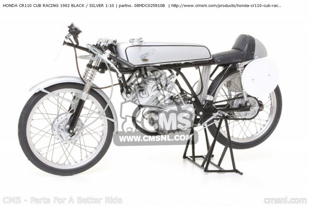 CMS シーエムエス その他グッズ HONDA CR110 CUB RACING 1962 BLACK / SILVER 1:10 SCALE MODELS