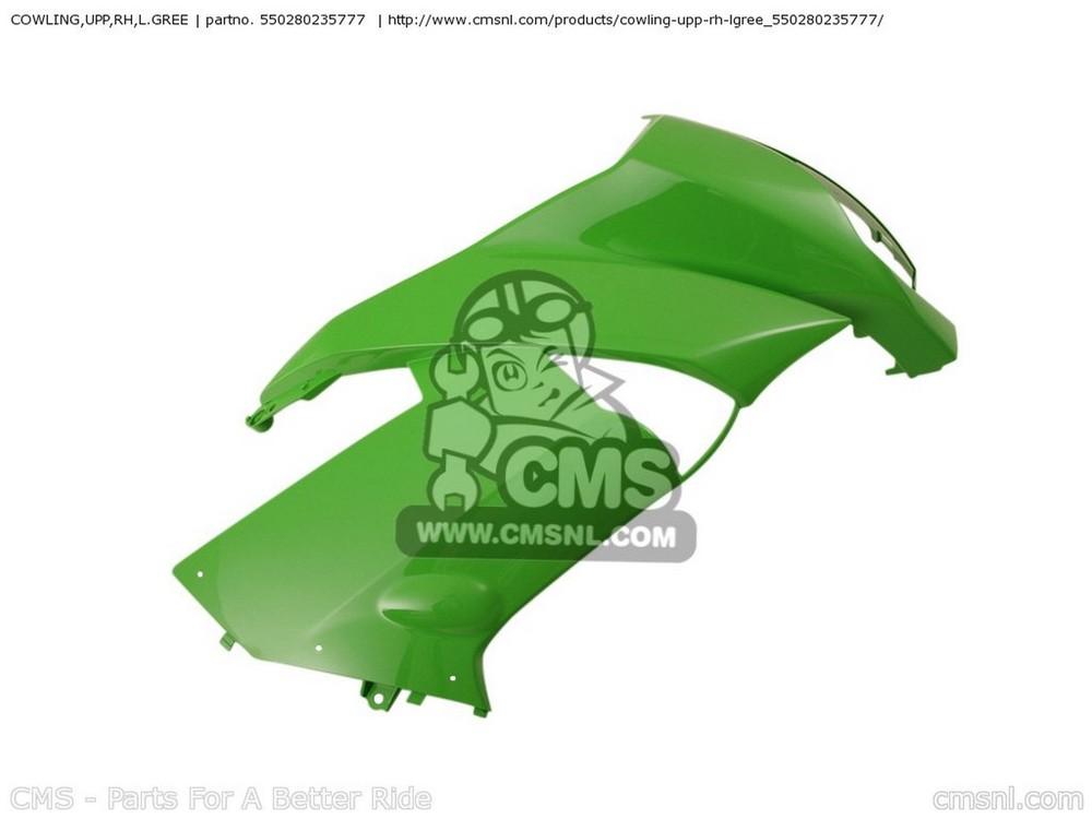 CMS シーエムエス アッパーカウル COWLING,UPP,RH,L.GREE EX650C9F NINJA 650R 2009 USA