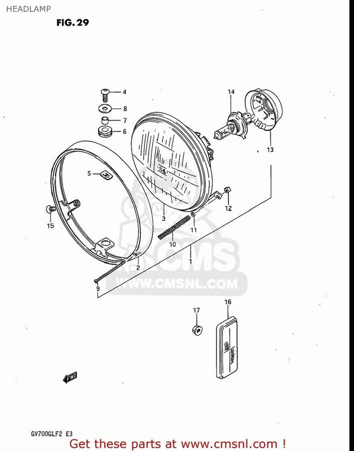 CMS シーエムエス ヘッドライト本体・ライトリム/ケース HEADLAMP ASSY GS550L 1985 (F) USA (E03) GS550L 1986 (G) USA (E03)