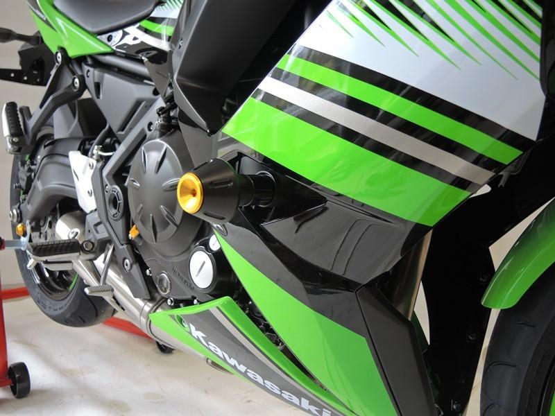 RDmoto アールディーモト ガード・スライダー クラッシュプロテクター【Crash protectors】 Colour:black polyamid Colour:green aluminium anodized