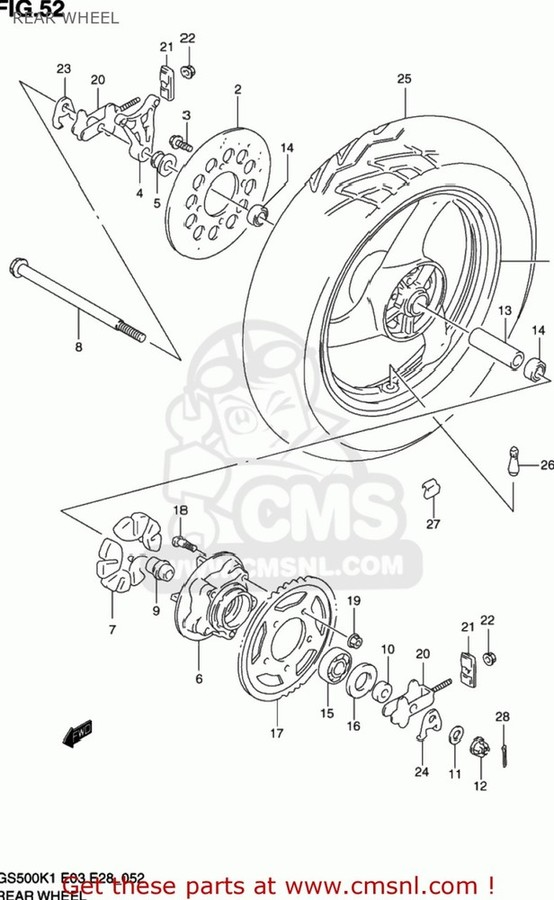 CMS シーエムエス ホイール本体 (64111-34C01-Y6G) WHEEL, REAR (MT3.50X17) GS500 2001 (K1) USA (E03) GS500 2002 (K2) USA (E03)