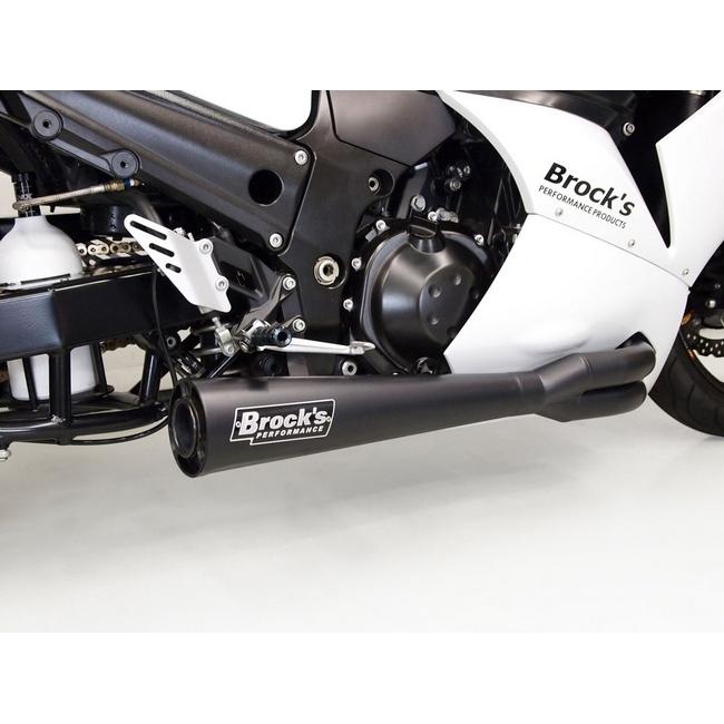 Brock's ブロックス フルエキゾーストマフラー ステンレスサイドワインダー メガホン ブラック ZZR1400 (ZX-14)