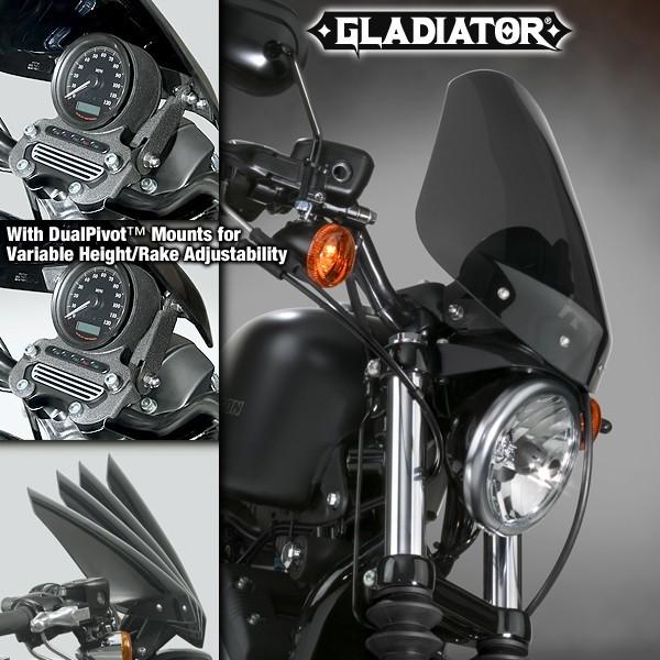 National Cycle ナショナルサイクル スクリーン Gladiator(R)レーキ 高さアジャスタブルウインドシールド (Gladiator (R) Height/Rake Adjustable Windshield)
