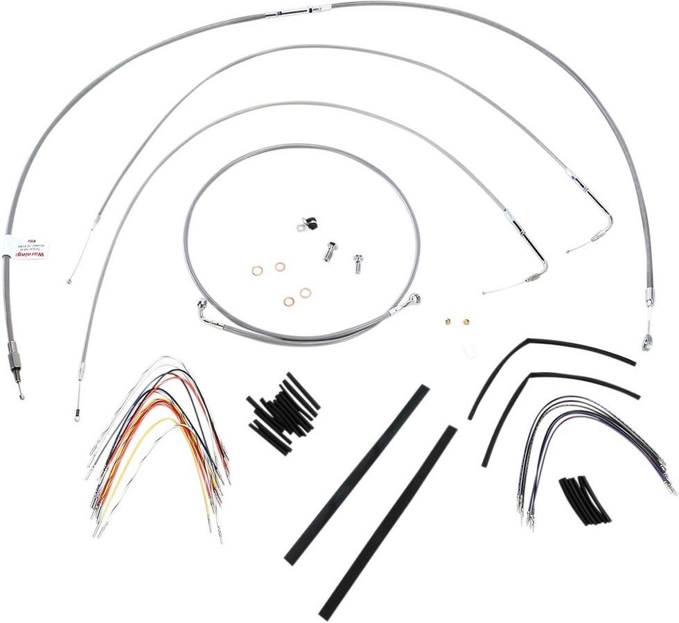 """BURLY BRAND バーリーブランド スロットルワイヤー・クラッチワイヤー・チョークケーブル ブレーキライン/ケーブルキット ステンレス 14"""" FXST 2011用【CONTROL KT SS 11 FXST 14 [0610-0712]】"""