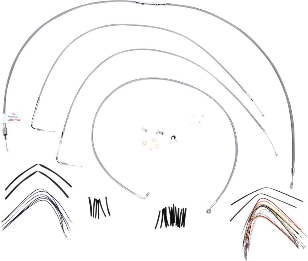 """BURLY BRAND バーリーブランド スロットルワイヤー・クラッチワイヤー・チョークケーブル ブレーキライン/ケーブルキット ステンレス 16"""" FLST 2000用【CONTROL KT SS 00 FLST 16 [0610-0714]】"""