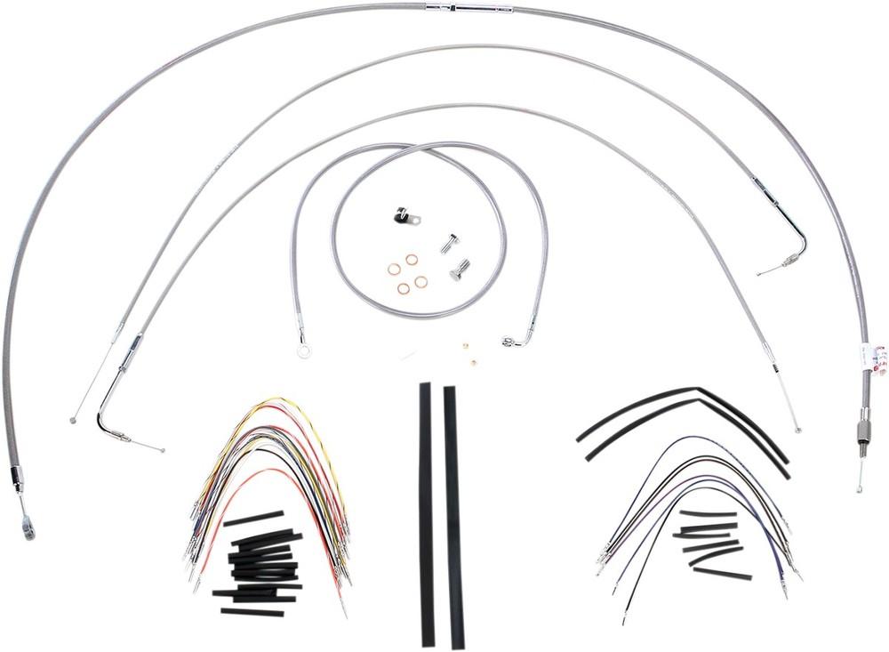 """BURLY BRAND バーリーブランド スロットルワイヤー・クラッチワイヤー・チョークケーブル ブレーキライン/ケーブルキット ステンレス 16"""" FXST 2000用【CONTROL KT SS 00 FXST 16 [0610-0716]】"""