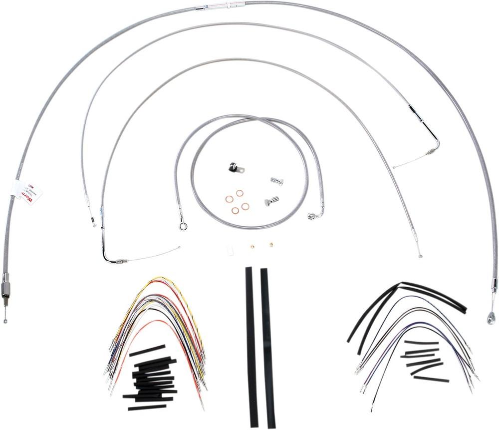 """BURLY BRAND バーリーブランド スロットルワイヤー・クラッチワイヤー・チョークケーブル ブレーキライン/ケーブルキット ステンレス 18"""" FLST 2000用【CONTROL KT SS 00 FLST 18 [0610-0718]】"""
