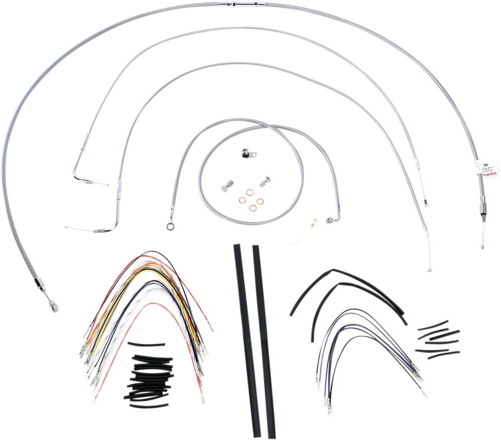 """BURLY BRAND バーリーブランド スロットルワイヤー・クラッチワイヤー・チョークケーブル ブレーキライン/ケーブルキット ステンレス 18"""" FLST 2007用【CONTROL KT SS 07 FLST 18 [0610-0719]】"""
