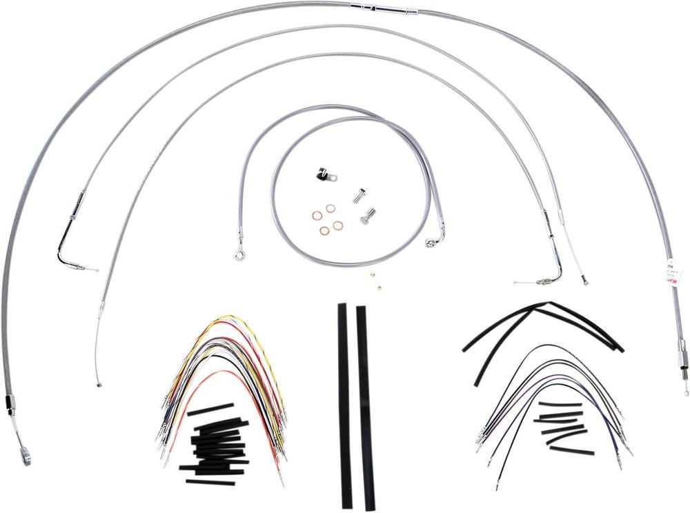 """BURLY BRAND バーリーブランド スロットルワイヤー・クラッチワイヤー・チョークケーブル ブレーキライン/ケーブルキット ステンレス 18"""" FXST 2000用【CONTROL KT SS 00 FXST 18 [0610-0720]】"""
