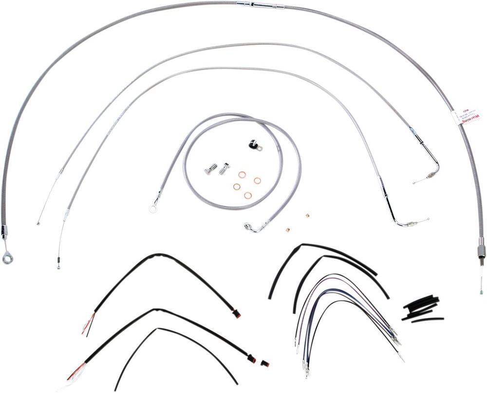 """BURLY BRAND バーリーブランド スロットルワイヤー・クラッチワイヤー・チョークケーブル ブレーキライン/ケーブルキット ステンレス 14"""" FLST 2011用【CONTROL KT SS 11 FLST 14 [0610-0722]】"""