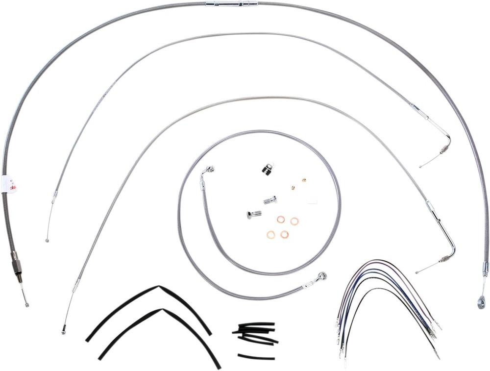 """BURLY BRAND バーリーブランド スロットルワイヤー・クラッチワイヤー・チョークケーブル ブレーキライン/ケーブルキット ステンレス 14"""" FXST 2011用【CONTROL KT SS 11 FXST 14 [0610-0723]】"""