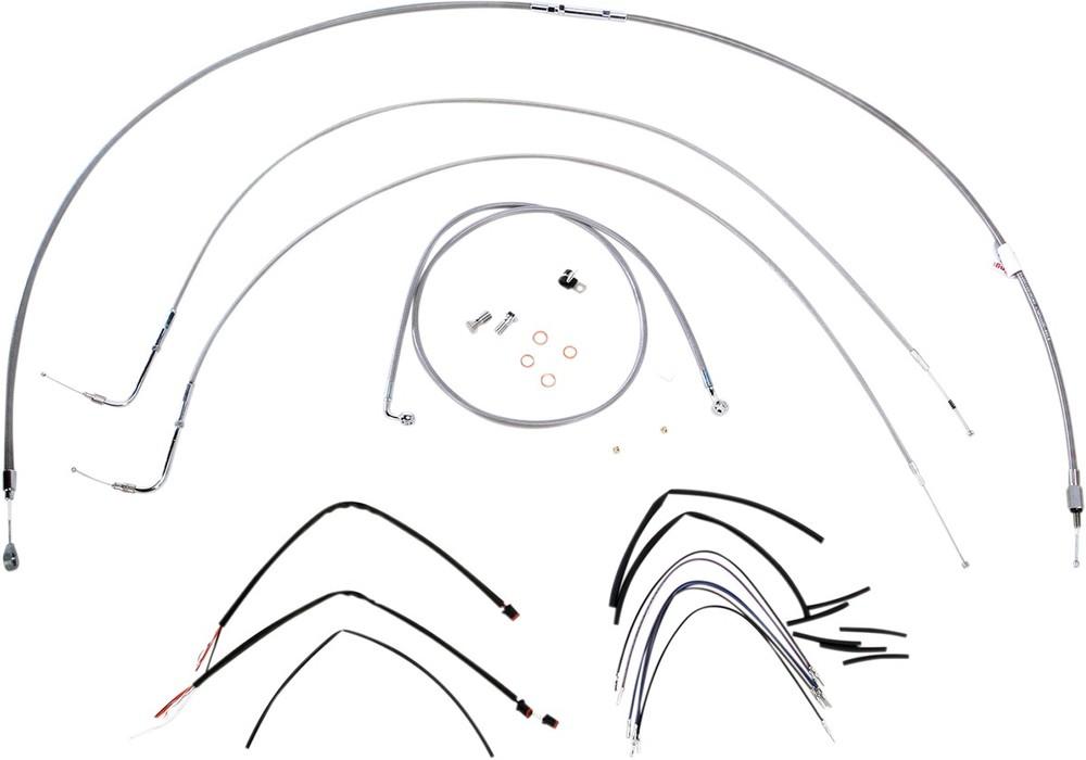 """BURLY BRAND バーリーブランド スロットルワイヤー・クラッチワイヤー・チョークケーブル ブレーキライン/ケーブルキット ステンレス 16"""" FXST 2011用【CONTROL KT SS 11 FXST 16 [0610-0725]】"""