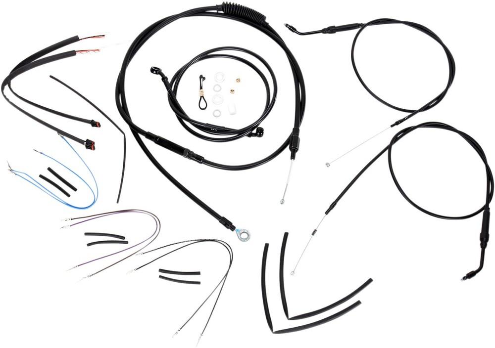 """BURLY BRAND バーリーブランド スロットルワイヤー・クラッチワイヤー・チョークケーブル ブレーキライン/ケーブルキット 14"""" FXD 2012-2017用【CONTROL KIT 12-17 FXD14""""[0610-0753]】"""