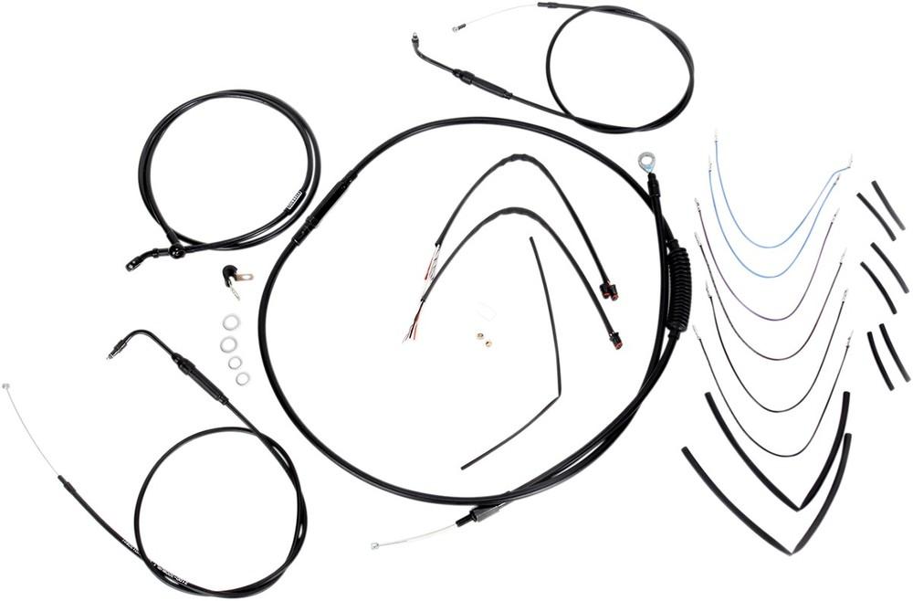 """BURLY BRAND バーリーブランド スロットルワイヤー・クラッチワイヤー・チョークケーブル ブレーキライン/ケーブルキット 14"""" FLST 2011-2015用【CONTROL KIT 11-15 FLST14""""[0610-0755]】"""