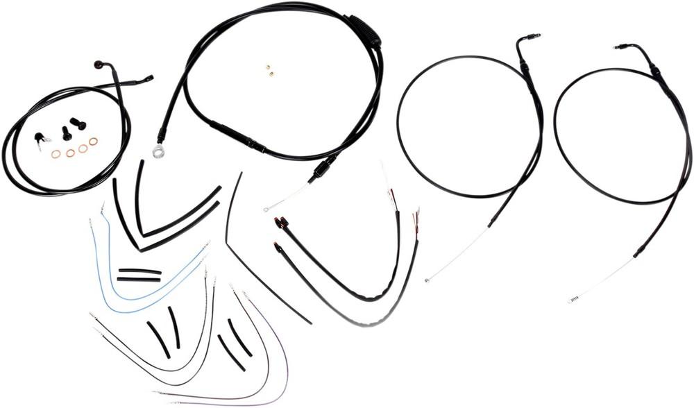 """BURLY BRAND バーリーブランド スロットルワイヤー・クラッチワイヤー・チョークケーブル ブレーキライン/ケーブルキット 16"""" FLST 2011-2015用【CONTROL KIT 11-15 FLST16""""[0610-0756]】"""