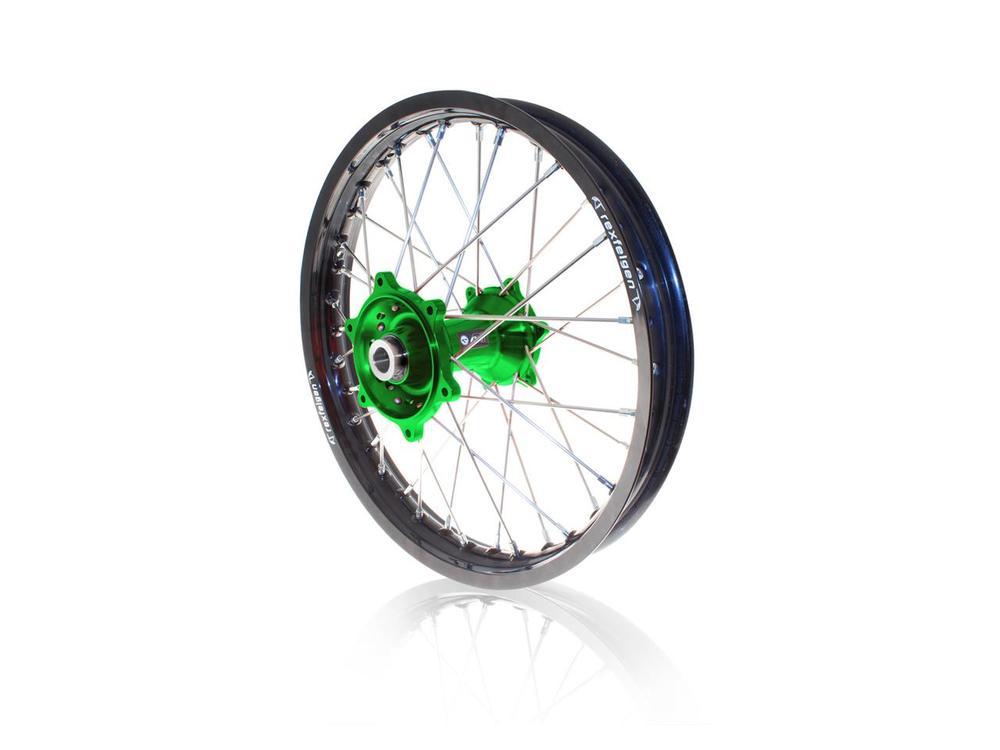 リア コンプリートホイールリム/ハブ 19x1.85 ブラック/グリーン KAWASAKI KX250F用 (ART Complete rear wheel rim 19x1.85 black / green Kawasaki KX250F hub【ヨーロッパ直輸入品】)