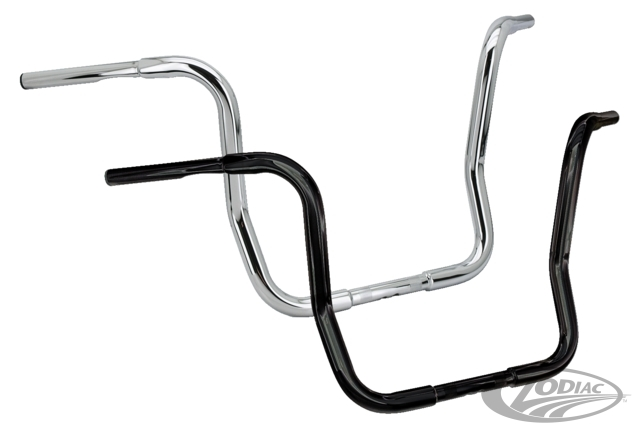 "ZODIAC ゾディアック ハンドルバー FAT BUBBA LARGE DIAMETER SIX-BEND BAGGER STYLE HANDLEBARS COLOR:BLACK SIZE:16"" (41cm) high"