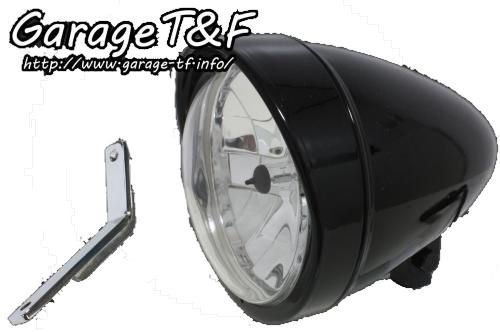 ガレージT&F ヘッドライト本体・ライトリム/ケース 5.75インチロケットライト&ライトステー(タイプD)キット 仕上げ:ブラック仕上げ スティード400