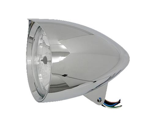 Neofactory ネオファクトリー シャープバイザー付きバレットヘッドライト 5-3/4インチ クローム