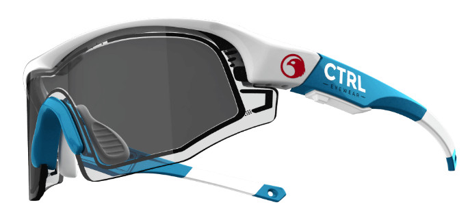 e-tint イーティント 電子式調光スマートサングラス コントロールワン(CTRL ONE) フレームカラー:ブルー/ホワイト